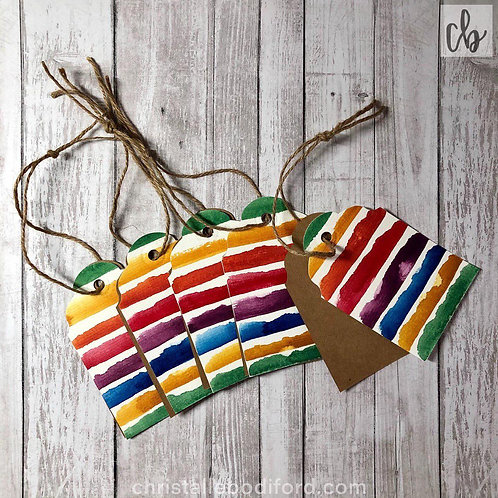 Rainbow Stripe Gift Tags (5-Pack)