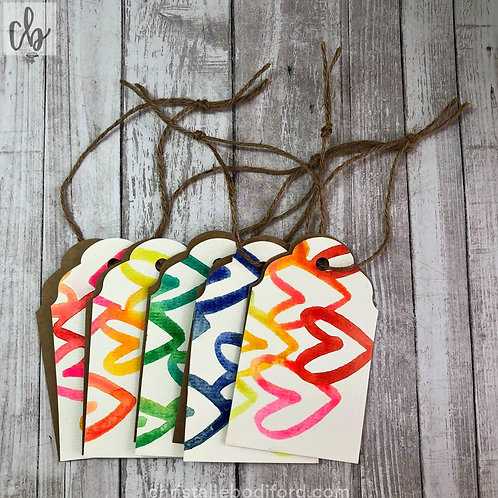 Colorful Hearts Gift Tags (5-Pack)