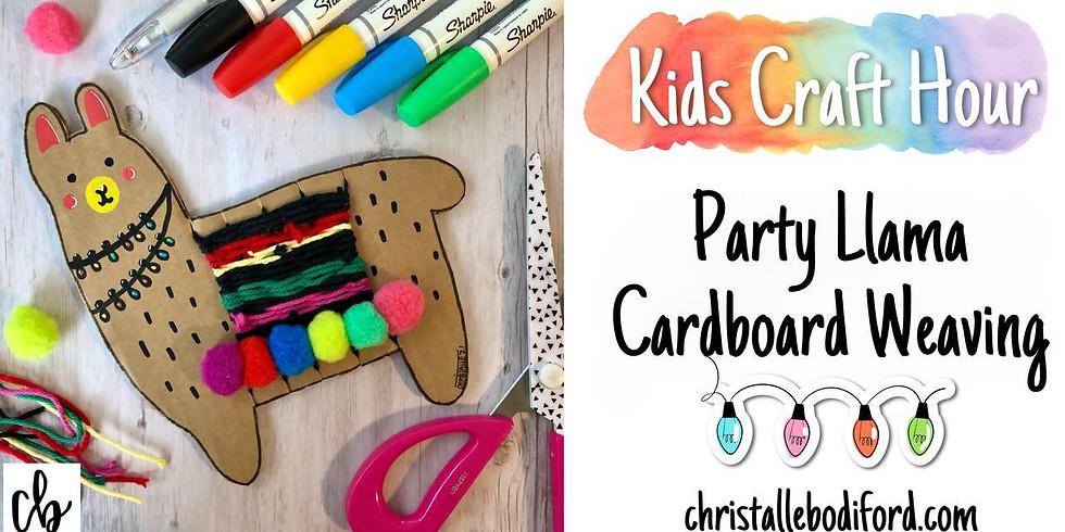 Kids Craft Hour • Party Llama Cardboard Weaving