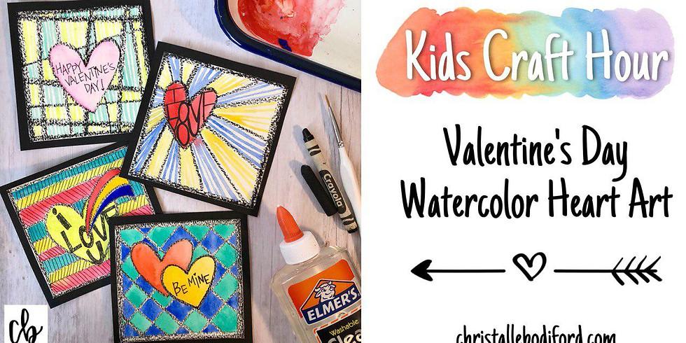 Kids Craft Hour • Valentine's Day Watercolor Heart Art
