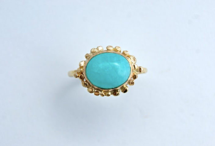 18ct gold and amazonite