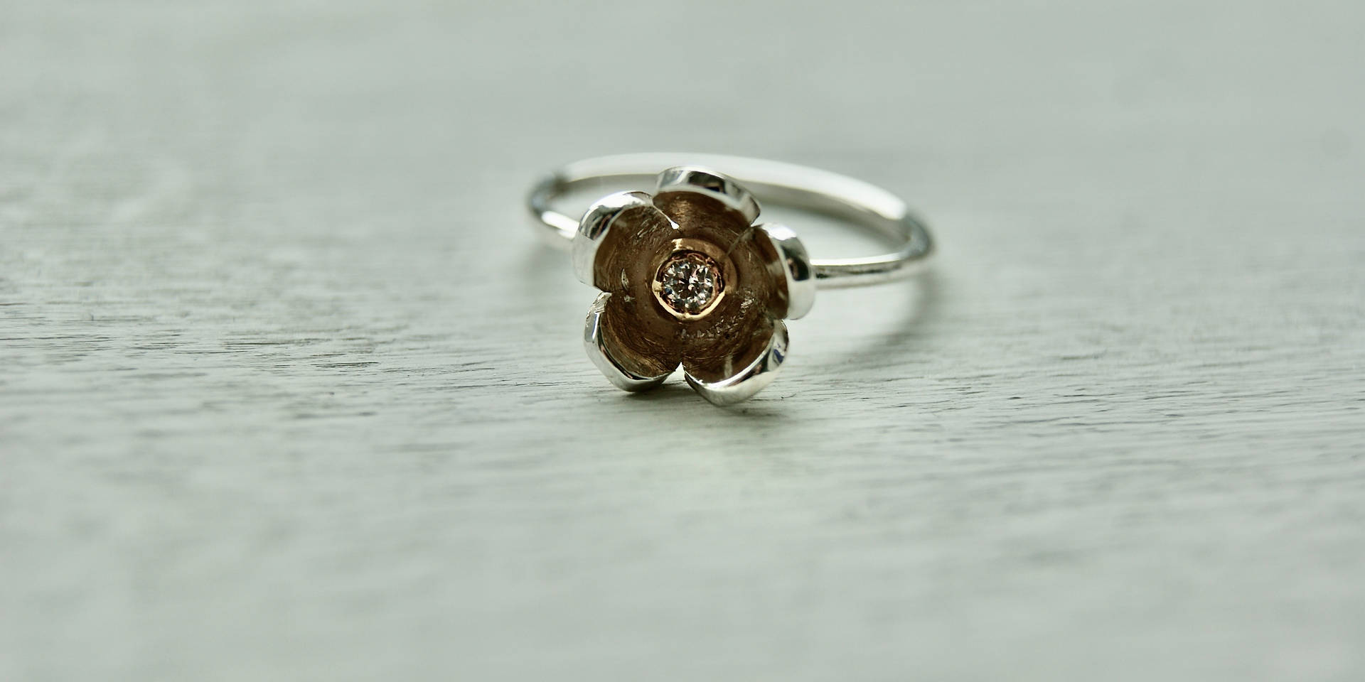 Sterling Silver, 18ct Gold & Diamond