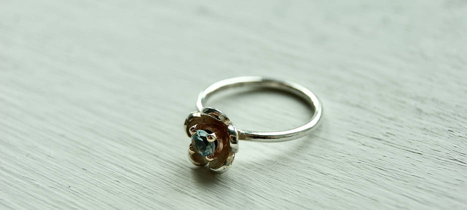 Sterling Silver, Gold and topaz