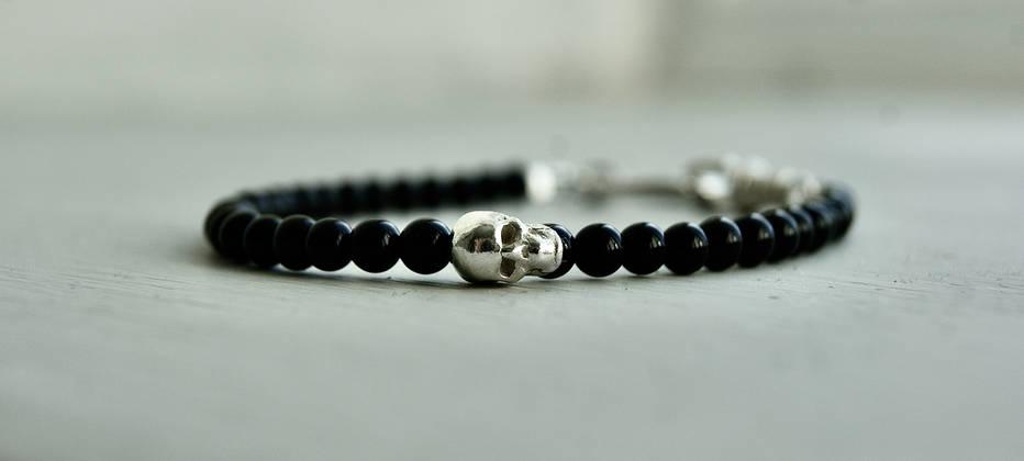 Sterling Silver and Onyx skull bracelet