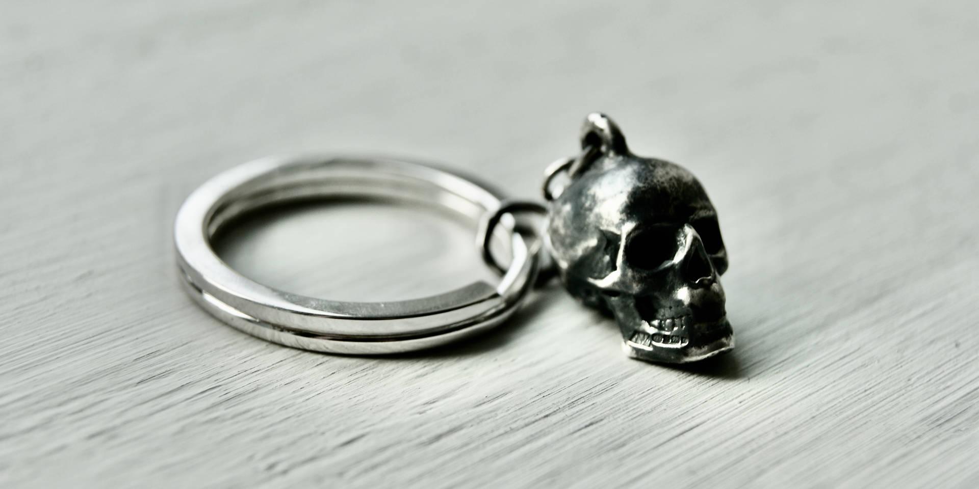 Sterling Silver skull keyring