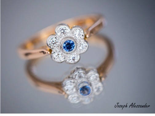 18ct Gold with Sapphire and Diamonds