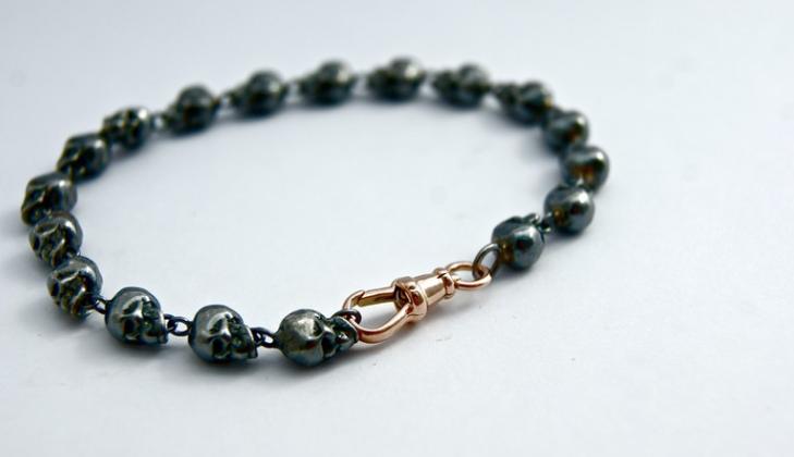Sterling Silver and Gold skull bracelet