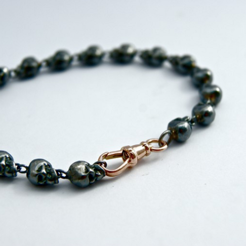 Oxidised Sterling Silver and 9ct Rose gold Bracelet