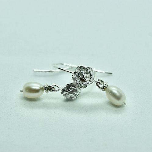 Sterling Silver and pearl hook earrings