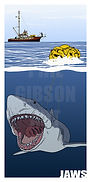 Jaws Great White Shark Art Print