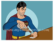 Superman III Drinking Art Print