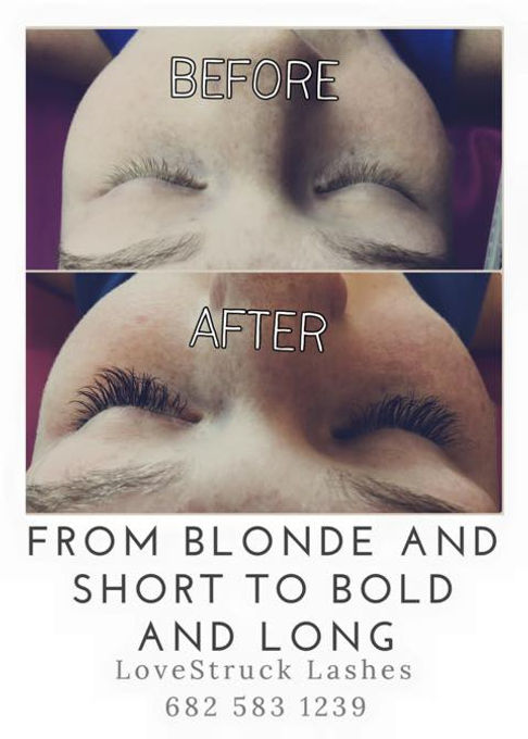 Blonde eyelash extensions