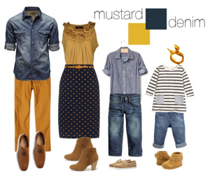 Mustard and Denim inspired family attire for outdoor Fall family photography sessions