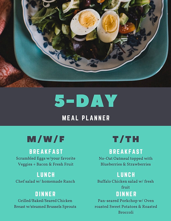 5-Day Meal Planner Menu.j