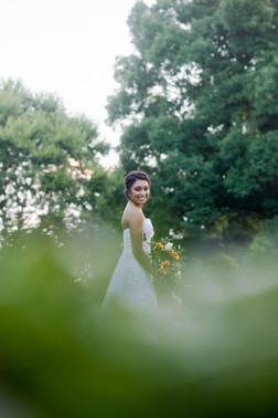 bridal session_sunflower bouquet_candor nc