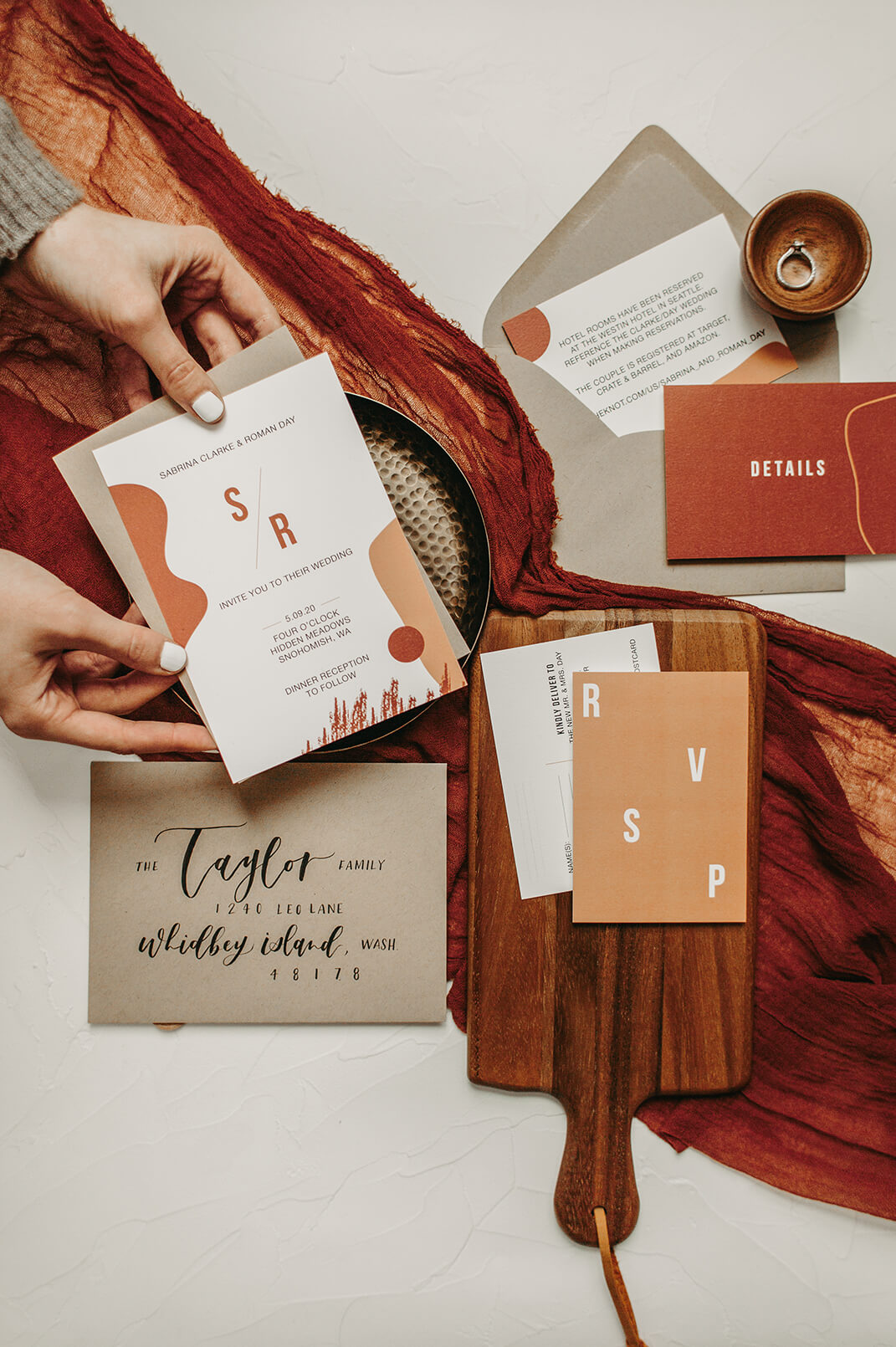 Rust and Coral Modern Wedding Invitations by Heritage Creative Co.