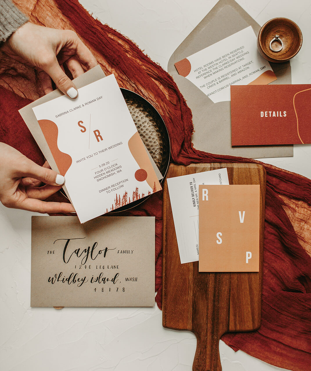 Abstract Modern Wedding Invitation Suite by Heritage Creative Co.