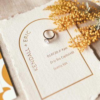 Arched Mustard Invitation by Heritage Creative Co.