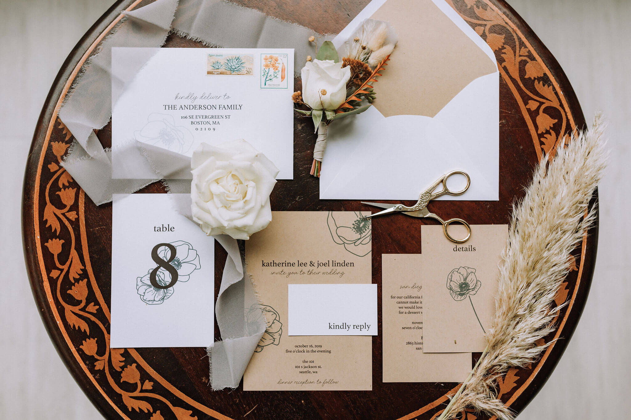 Kraft Modern Wedding Invites by Heritage Creative Co.