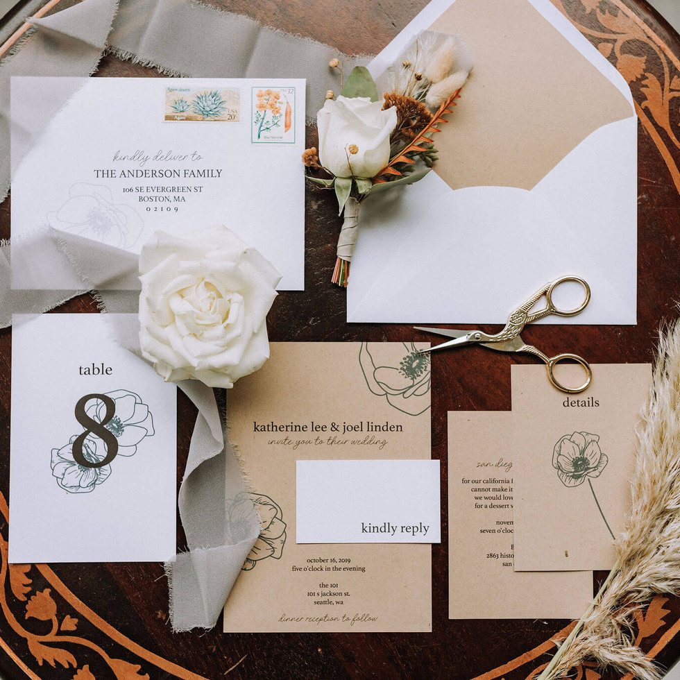 Kraft Modern Wedding Invitation Suite by Heritage Creative Co.
