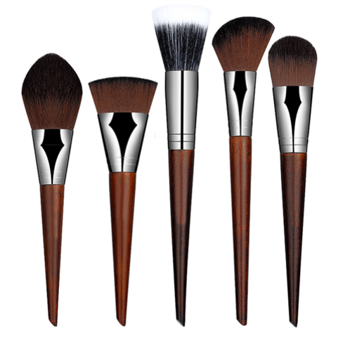 MAHOGONY RED WOOD MAKEUP BRUSH SET (5 pcs)