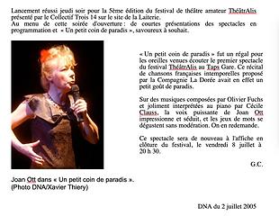La Dorée - Un petit bout de paradis - DNA Juillet 2005
