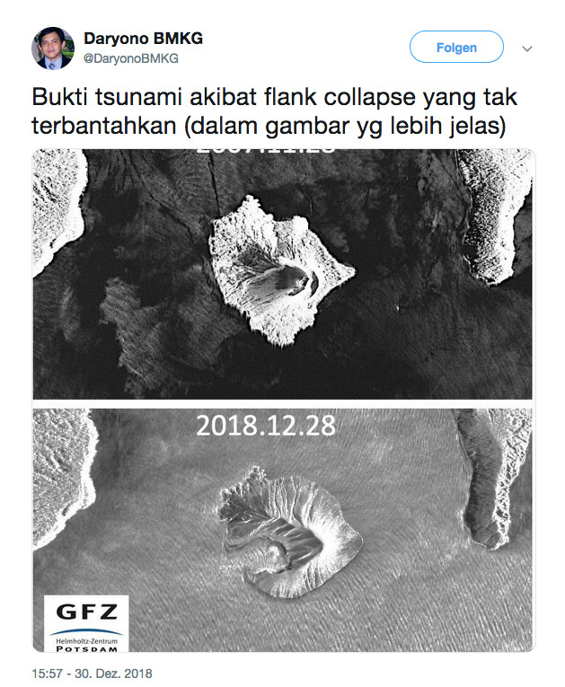 These pictures show the difference from Anak Krakatau before and after the flank collapse of 22nd december 2018