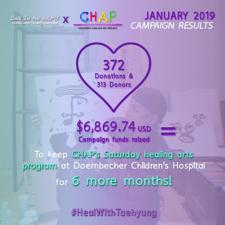 January 2019 Campaign Summary - Children's Healing Art Project