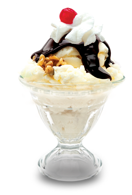 ice scream sundae with chocolate syrup