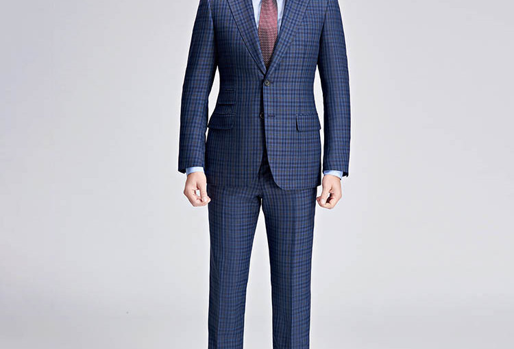 BROWN AND BLUE CHECKED SUIT
