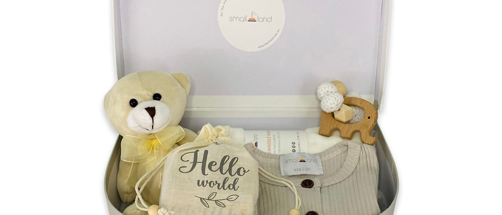 NEUTRAL LARGE SUITCASE GIFT BOX