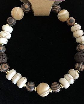 Howlite & Mother of Pearl Essential Oil Bracelet