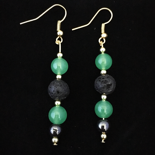 Green Aventurine & Hematite Aromatherapy Earrings