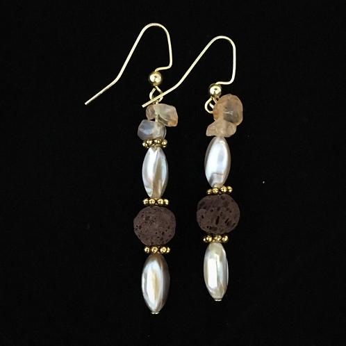 Sea Shell and Citrine Aromatherapy Earrings