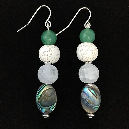 Abalone & Crystal Quartz Diffuser Earrings