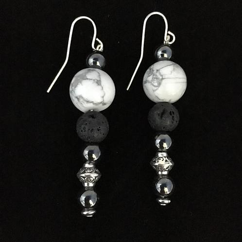 Howlite and Hematite Essenital Oil Earrings