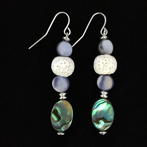 Abalone Silver Plated Essential Oil Earrings