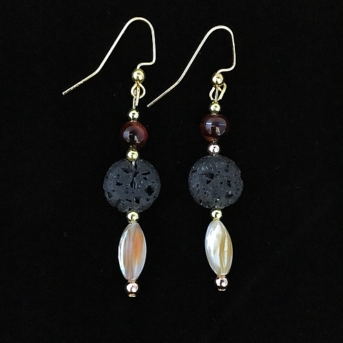 Red Tigers Eye & Sea Shell Essential Oil Earrings