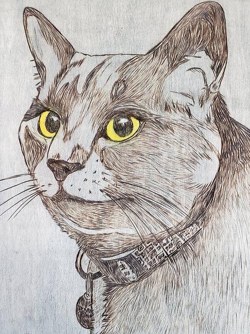 Pet Portraits - wood-burned on cradled wood panel