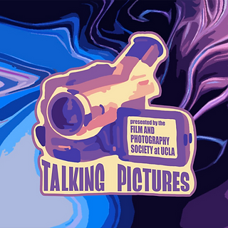 """Illustration of a camcorder on a colorful liquid background. Text reads, """"Talking Pictures"""""""
