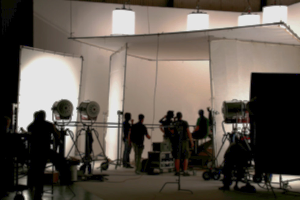 Slightly blurred image of a film crew working on a set