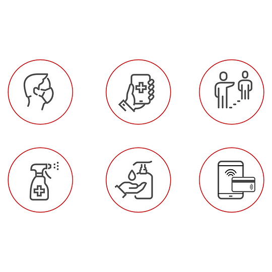 Welcome back icons showing requirements for COVID safety