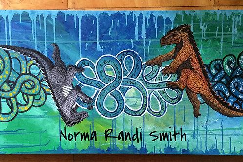 """""""2 Dragons"""" Original Oil Painting"""