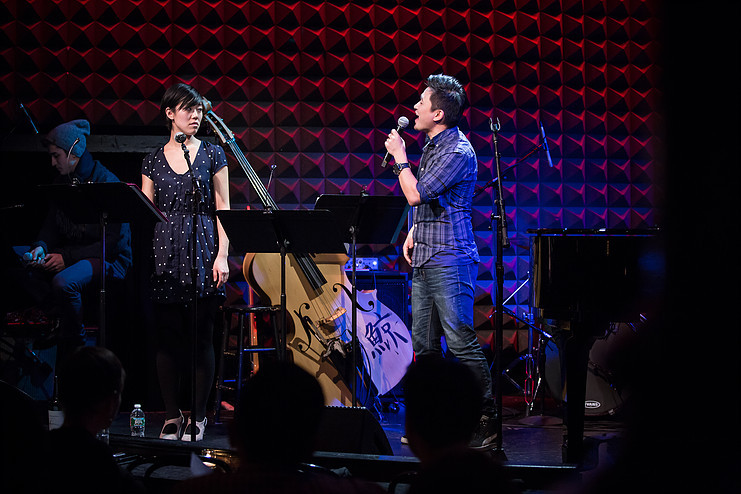 Hugh Cha sings at Joe's Pub, a historic public theater in NYC.
