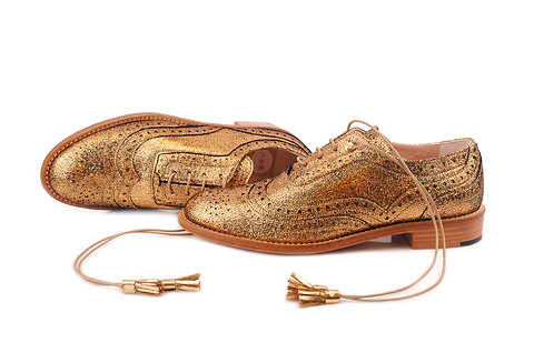 Holographic Gold ABO Dolly Brogues (made to order)