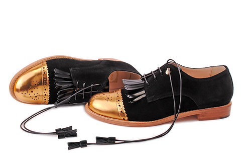 Gold & Black ABO Fringed Brogues (made to order)