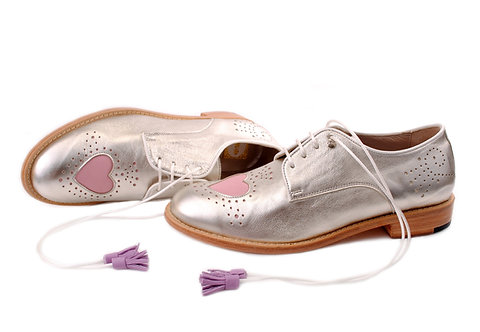 Silver & Pale Pink Heart ABO Brogues (made to order)