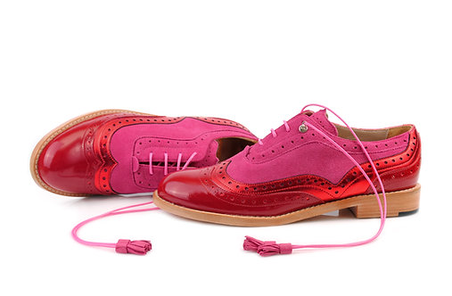 Red & Hot Pink Dolly ABO Brogues (made to order)
