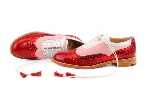Red Pink & White ABO Dolly Brogues (made to order)