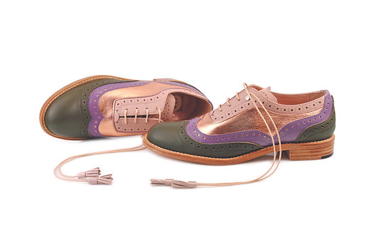 Green Violet Beige & Gold Rose ABO Dolly Brogues (made to order)